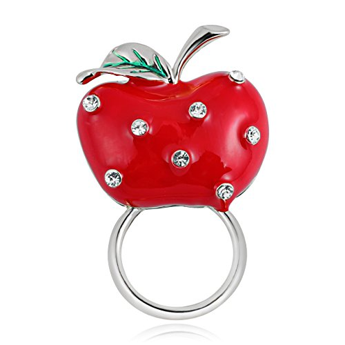 TUSHUO Delicate Red Apple with Crystal Rhinestone Magnetic Eyeglass Holder (Sliver) ()
