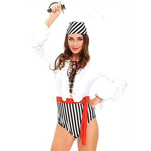 [Slocyclub Women's Pirates Uniforms Halloween Fancy Jumpsuit Costume] (Halloween Costumes Ideas For Guys With Beards)