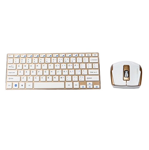 Coohole New Fashion Metal 2.4GHz Portable Laptop Computer Mini Wireless Keyboard And Optical - White Black And Hours Optical