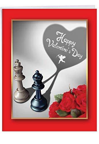 (Pieces of Heart Happy Valentines Day Greeting Card w/Envelope Jumbo 8.5 x 11 Inch - Chess Piece - King, Queen - Bouquet of Red Roses Stationery for Personalized Love Letter V-Day Gift Idea J3494VDG)