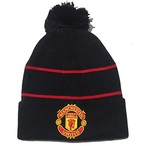 (SHENXINERBB F.C Embroidered Black Men's Knitted Caps Authentic Winter Warm Beanie Hats (Manchester United) )