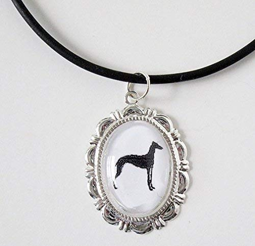 Greyhound Cabochon Cameo Silver Dog Necklace Pendant Silhouette Jewelry Adjustable ()