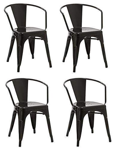 Duhome 4 PCS Metal Dining Chair with Armrest Stackable Industrial Style Restaurant Bistro Patio (Black)