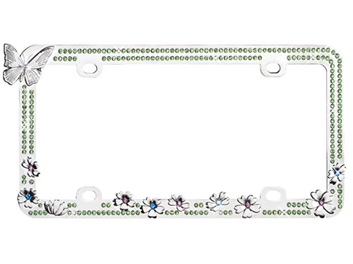 Valor LPF2HC005GRN Design License Plate Frame with (Charming Butterfly)