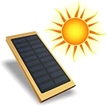 Solar Charger Power Bank 20000mAh keep you charged and always connected battery charger Portable Dual USB Solar Charger Lithium Battery LED Flashlight Mobile Phones Tablet MP3 MP4 Camera GPS(Gold)