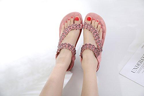 de Plates pour Bohème Rose des Ruiren Sandales Shaussures de de Dames Femmes Fleur D'été qSv5vw8xA