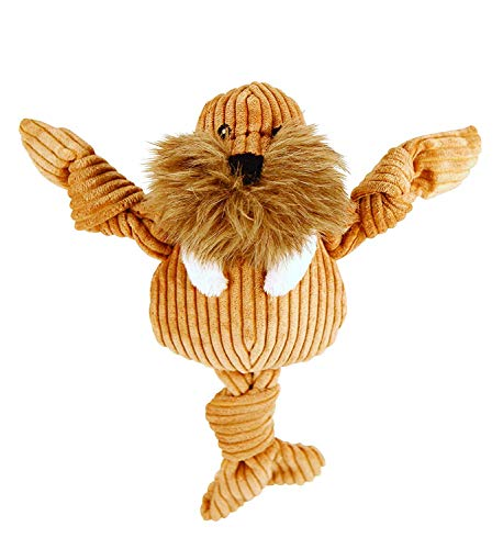 HuggleHounds Plush Corduroy Durable Squeaky Knottie, Dog Toy, Great Dog Toys  for Aggressive Chewers, Walrus, Small -