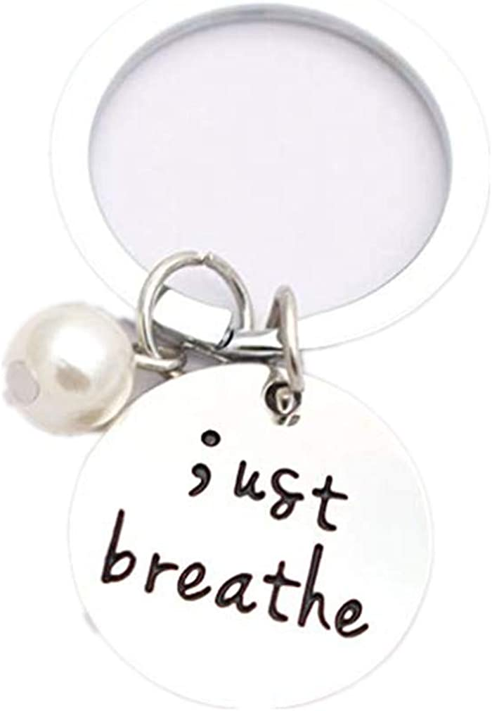 DONGMING Engraved Just Breathe Keychain Motivation Inhale Exhale Inspirational Keyring Jewelry for Friend Gift