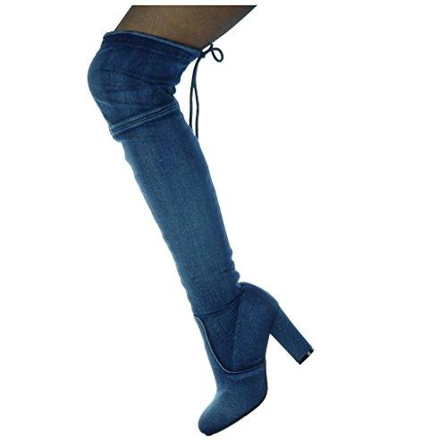 Donna Jeans Navy Denim Block Tacco Da Cavalier Scarpe Morbido Stivali Cm 8 Cosciali Angkorly Moda Alto 5 0EqA4