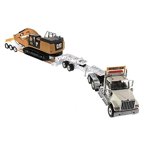 - International HX520 Tandem Tractor White with XL 120 Lowboy Trailer and CAT Caterpillar 349F L XE Hydraulic Excavator Set of 2 Pieces 1/50 Diecast Models by Diecast Masters 85600