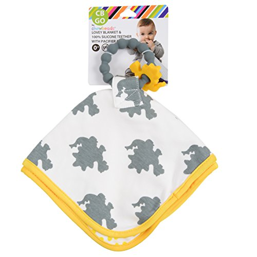 CB GO By Chewbeads Cotton Lovey with 100% Silicone Teether & Pacifier Loop - Dinosaur