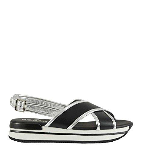 Hogan Women's HXW2570U450I6W0353 Black Leather Sandals n9AnER