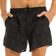YOOJIA Mens Mesh See-Through Drawstring Quick Dry Beach Shorts with Bulit-in Briefs Swimwear