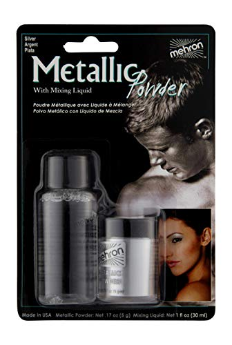Mehron Makeup Metallic Powder (.17 oz) with Mixing Liquid (1 oz) (Silver). -