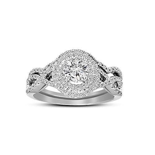 Friendly Diamonds IGI Certified 7/8 ct Lab Grown Halo Diamond Ring 925S Sterling Silver Round Cut SI1-SI2-HI Quality Real Diamond Ring For Women