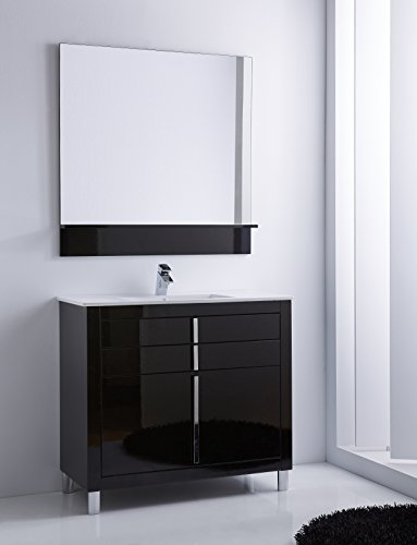Roma 40-inch Wide Bathroom Vanity Cabinet Set, Black High Gloss, Single Sink White Ceramic Sink Console, Floor Mounted, MDF, Made in Spain (European Brand) (Black) by Hispania bath