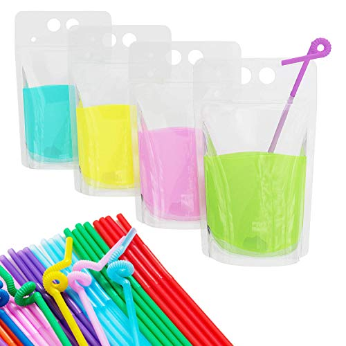(100 Pcs Stand-Up Plastic Drink Pouches Bags with 100 Drink Straws, Zipper Clear Heavy Duty Hand-Held Translucent Reclosable Heat-Proof Bags for Smoothie, Cold & Hot Drinks)
