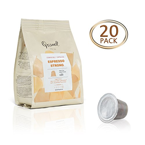 Granell Nespresso Compatible Espresso Capsules, Single Serve OriginalLine Sized Pods, Strong – 20 Pack