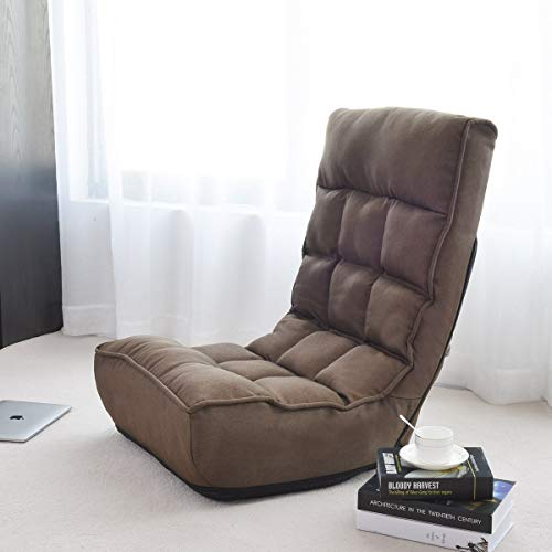 Giantex Floor Chair Sleeper 4-Position Adjustable Angle Folding Lazy Sofa Cushioned Couch Lounger Easy for Storage, Brown (Best Sofa For Watching Tv)