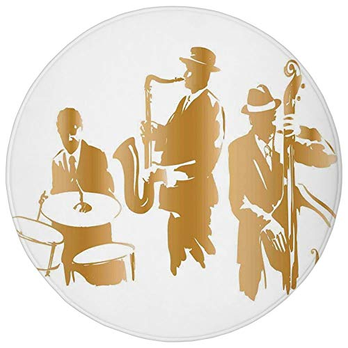 Round Rug Mat Carpet,Jazz Music Decor,Vintage Style Illustration of Jazz Band Playing the Blues Music Home Vibes Art,Light Brown White,Flannel Microfiber Non-slip Soft Absorbent,for Kitchen Floor Bath -