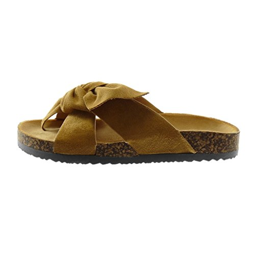 Angkorly Zapatillas Moda Sandalias Mules Slip-On Mujer Nodo Corcho Plataforma 2.5 cm Camel