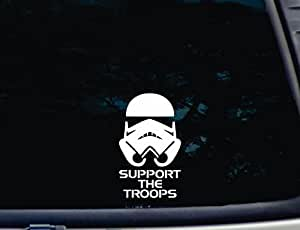 "Support the Troops © - 3 1/2"" x 6"" die cut vinyl decal for windows, cars, trucks, tool boxes, laptops, MacBook - virtually any hard, smooth surface. NOT PRINTED!"