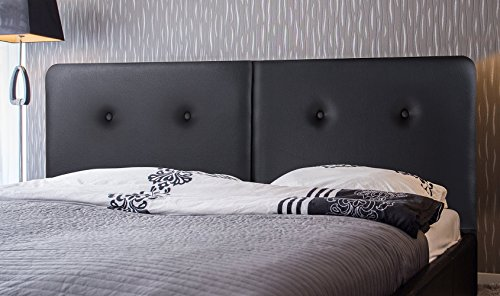 Olee Sleep OLR43HB02Q Deluxe Upholstered Faux Leather Steel Headboard with Button, Queen, Black