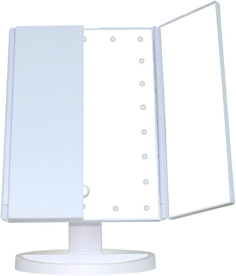 Lighted Makeup Mirror Tabletop geführt Lighted Trifold Makeup Vanity Mirror 3X/2X/1X Magnification Dimmable Touch Screen Rotation Bathroom Cosmetic Mirror Table Fill Light Daylight geführt Vanity Mirror