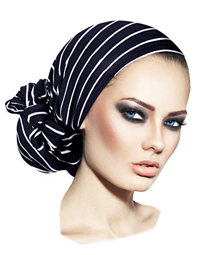 (ShariRose Navy Blue pre Tied Headscarf Headcover for Women Soft Cotton Turban wrap Headwear (Navy Blue White Stripe Long))