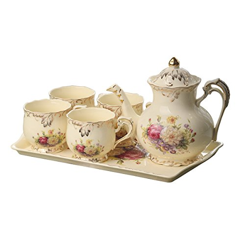 YOLIFE Flowering Shrubs Pattern Ivory Ceramic Coffee Tea Set,Porcelain Tea Set with Tea Pot and Serving Tray,Tea Party Service Set for Adults
