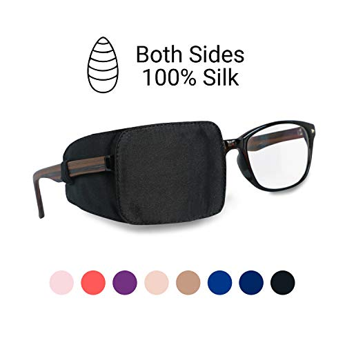Astropic Silk Eye Patch for Adults Kids Eye Patch for Glasses Medical Patch for Lazy Eye Amblyopia Strabismus and After Surgery (Pure Black)