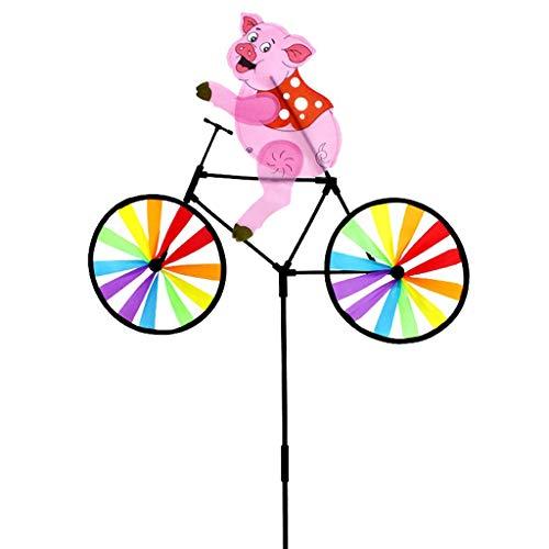 - JAGETRADE Cute 3D Animal Pig on Bike Windmill Whirligig Garden Lawn Yard Decor Wind Spinner