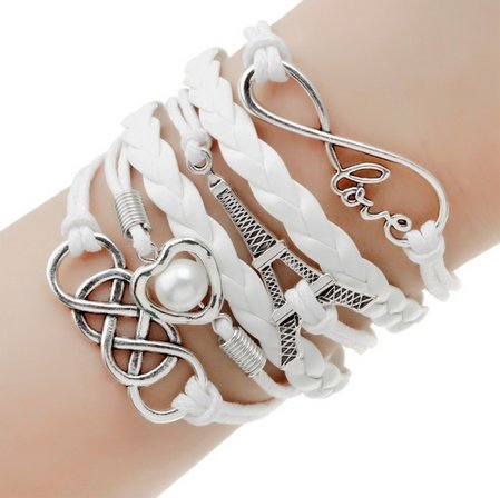 (UBBC White Handmade Braided Multi Layers Vintage Woven Rope Woven Leather Alloy tower Infinity Wrap Bangle Bracelets)