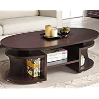 Furniture of America Modern Elliptical Multi-shelf Walnut Coffee Table