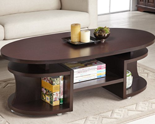 Furniture of America Modern Elliptical Multi-shelf Walnut Co