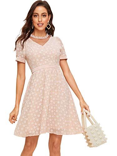 DIDK Women's Lace Trim Mesh Yoke Floral Jacquard Dress Pink L