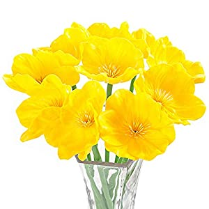 Artificial Flowers, Meiwo 10 Pcs Fake Poppies Flowers for Wedding Bouquets / Home Decor / Party / Graves Arrangement(Yellow) 61