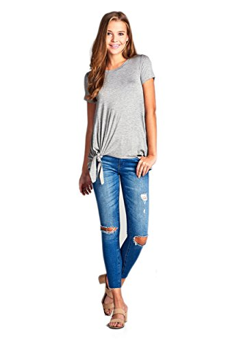 TL Womens Essential Shortsleeve Rayon Blend T-Shirt With Twisted Knotted Hem 08_HGREY L