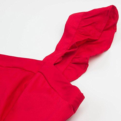 Topfly Nouveau Manchon Falbala Style Astucieux Audrey Hepburn Équipé D'une Ligne Robe Bulle Rouge Nous S / Tag Asiatique S