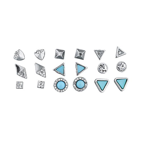 Clip Silver Tone Earrings Vintage (Lux Accessories Silver Tone and Turq Stone Geo Pave Multi Earring Set 9PCS)