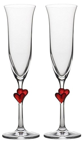 Amour Flutes - StÃlzle Lausitz 175 ml Lead Free Crystal L'Amour Champagne Flute Red Heart Glass, Pack of 2