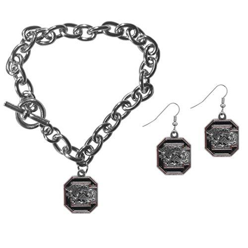 Siskiyou NCAA South Carolina Fighting Gamecocks Chain Bracelet & Dangle Earring Set (University Of South Carolina Game Day Outfits)