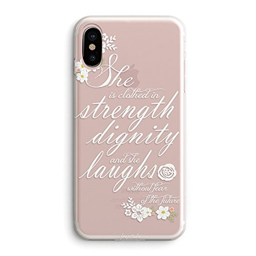 iPhone X Girls Case,Flowers Floral Vintage Roses Bible Verses Quotes She is Clothed with Strength & Dignity Proverbs 31:25 Cute Inspirational Motivational Clear Soft Case Compatible for iPhone X