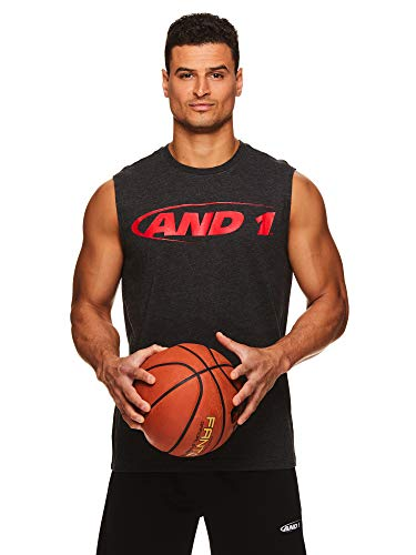 AND1 Men's Basketball Muscle Tank Top - Sleeveless Workout & Training Activewear Gym Shirt - Black Heather, X-Large