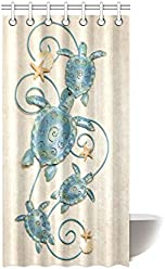 Sea Turtle Waterproof Bathroom Decor Fabric Shower Curtain Polyester 36 X 72 Inches