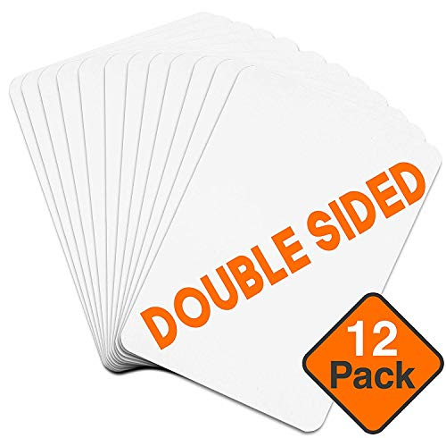 Dry Erase Boards [12pc Double Sided] Lapboards with ClearWipe Coating! Small White Boards - 9