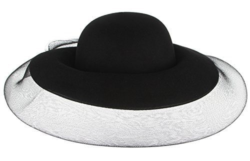 Gemvie Women's Wool Wide Brim Gauze Cover Church Bowler Floopy Cloche Hat 22.8