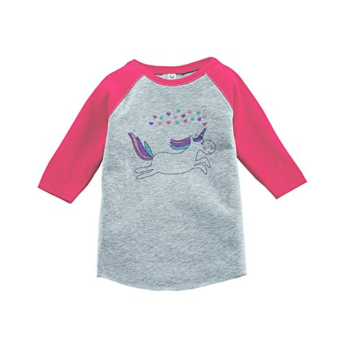 7 ate 9 Apparel Girl's Valentine's Day Unicorn Pink Baseball Tee Youth Small
