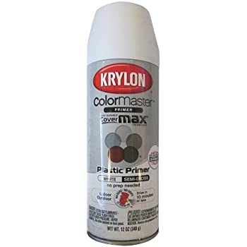 Krylon k05132100 indoor outdoor plastic primer white 5 ball decorator 12 ounce spray paints for Exterior spray paint for plastic