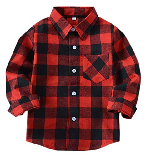 (Kids Toddlers Little & Big Boys Girls Plaid Button Down Short Sleeve Flannel Shirt Tops, Flannel# Red + Black, 9-10 Years = Tag 160)
